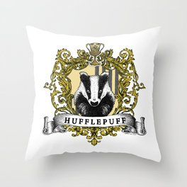 Hufflepuff Color Crest Throw Pillow