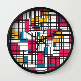 Pink, Blue, & Mustard Wall Clock