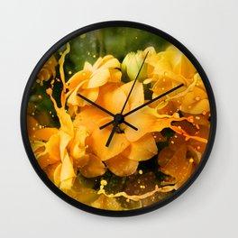 Yellow/orange Kalanchoe Flower Wall Clock