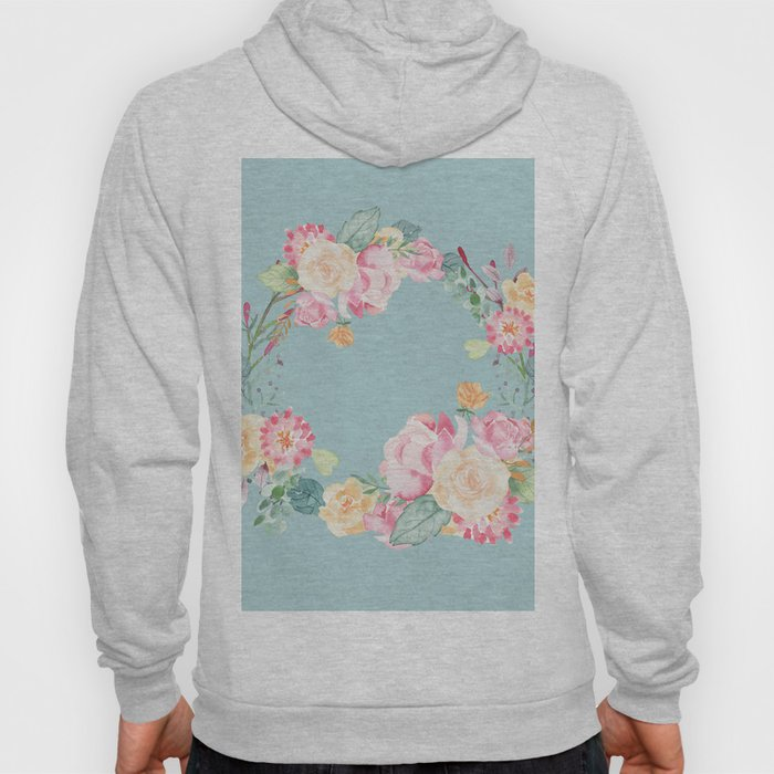 Spring Bouquet Wreath Duck Egg Blue Floral Print Hoody