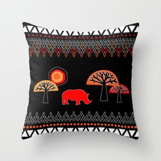 African Rhino (Hot colors) Throw Pillow