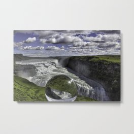 Gulfoss in Crystal Ball 1 Metal Print