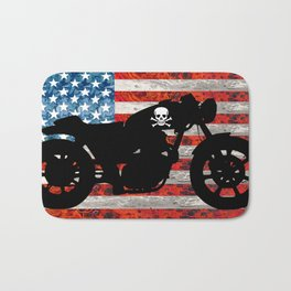 American Flag with Motorcycle Bath Mat