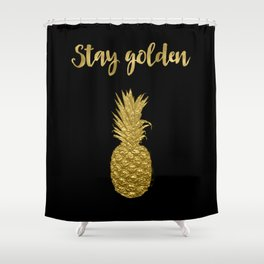 Stay Golden Precious Tropical Pineapple Shower Curtain