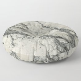 The white stone with dark grey veins Floor Pillow