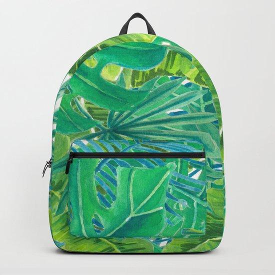 Tropcal leaves watercolor Backpack