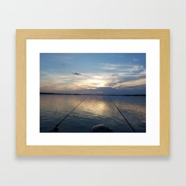 the great james river with benjamin harrison bridge Framed Art Print