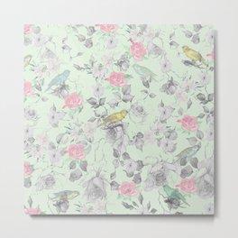 Vintage Pink White Mint Green Bird Floral Collage Metal Print