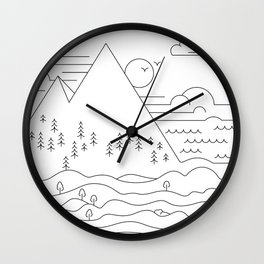Line work landscape Wall Clock