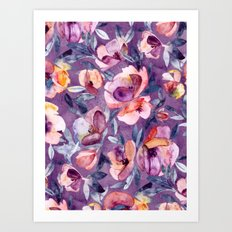May Afternoon - a watercolor floral in purple and peach Art Print