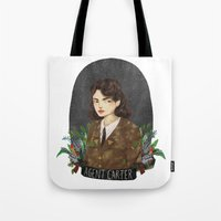 peggy carter Tote Bags featuring Agent Carter by strangehats