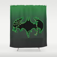 poison ivy Shower Curtains featuring Bat Logo Poison Ivy by EmeraldSora