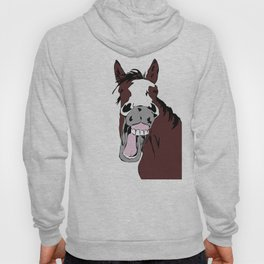 Cartoon Horse Laughing Funny Equestrian Art Hoody