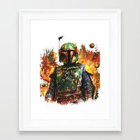 boba Framed Art Prints featuring Boba Fett by ururuty