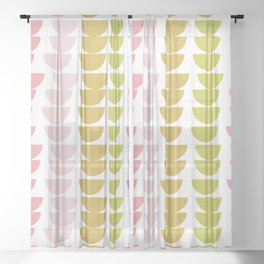 Geometric Kitchen Bowls in Pink, Chartreuse, and Green Sheer Curtain