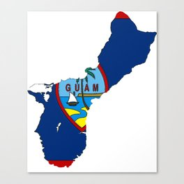 Guam Map with Guamanian Chamorro Flag Canvas Print