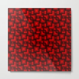 A chaotic mosaic of convex squares with red intersecting bright rectangles and highlights. Metal Print