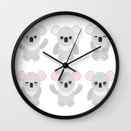 Funny cute koala set on white background Wall Clock