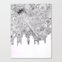 Bat City Doodle Canvas Print