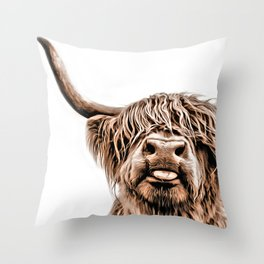 Funny Higland Cattle Throw Pillow