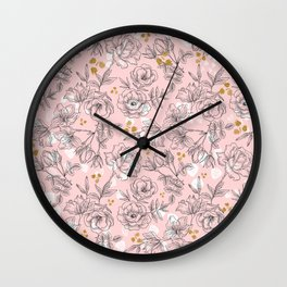 Pattern Pink and black flowers Wall Clock
