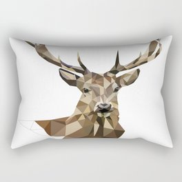 Geometric deer Woodland art Forest animals Brown and gray Rectangular Pillow