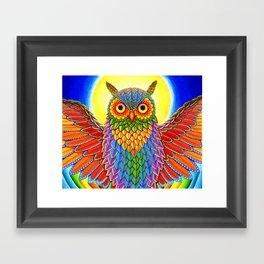 Colorful Rainbow Owl Framed Art Print