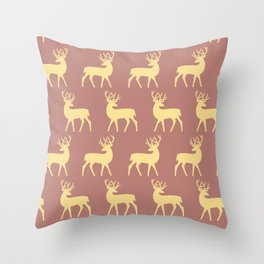 Mid Century Modern Deer Pattern Dusty Brown and Yellow Throw Pillow