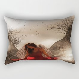 thinking it over Rectangular Pillow