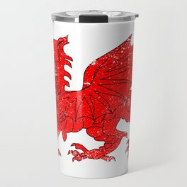Welsh Dragon With Grunge Travel Mug