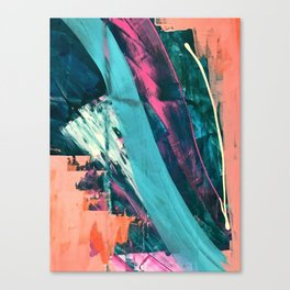Wild [7]: a bold, colorful abstract mixed-media piece in teal, orange, neon blue, pink and white Canvas Print