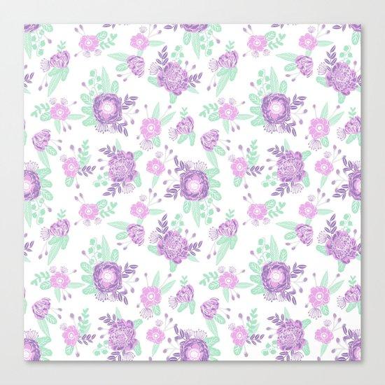 Floral pattern minimal painted nursery mint and purple pastel decor florals Canvas Print