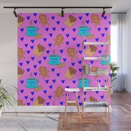 Lovely sweet gingerbread men cookies, chocolate, cups of hot cocoa, hearts pink girly winter pattern Wall Mural