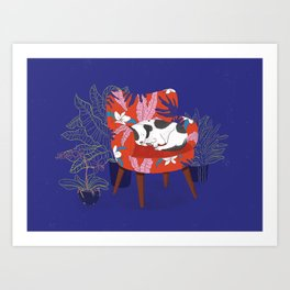 Sleeping Dog in Armchair – Dark Version Art Print