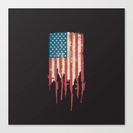 Distressed United States of America USA Flag Grunge Guns Canvas Print