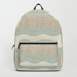 Wavy River I in cream, sage green, tan Backpack