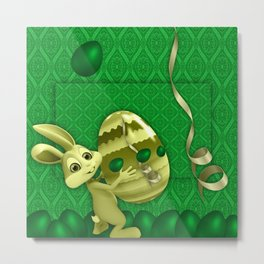 easter green background eggs Metal Print