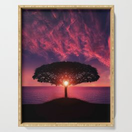 Purple Coastal Sunset with Lonely One Tree Hill color photograph / photography Serving Tray