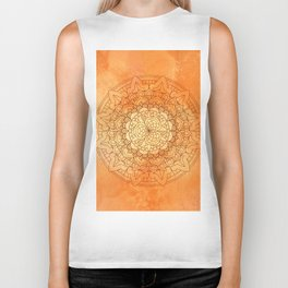 Watercolor Mandala Pattern Orange Biker Tank