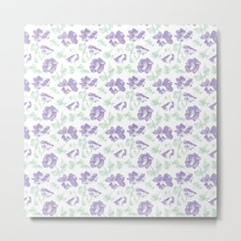Lilac with pale blue floral pattern . Metal Print