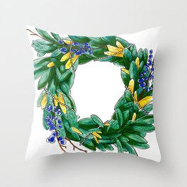 Seasonal wreath with bayberry, citrine and pearls Throw Pillow