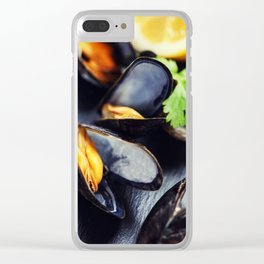 group of boiled mussels in shells Clear iPhone Case