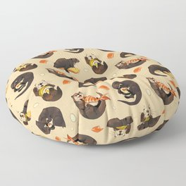 Tiny otters and their sushi Floor Pillow