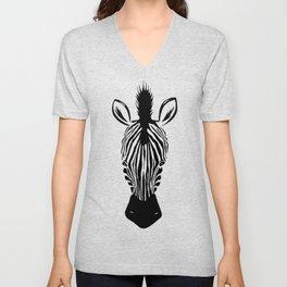 Hand drawn Zebra Illustration Unisex V-Neck