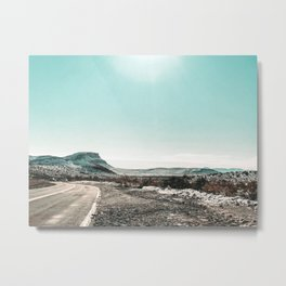 Desert Sunlight Snowfield // Vintage Nature Winter Scenery in Mojave Las Vegas Landscape Photograph Metal Print