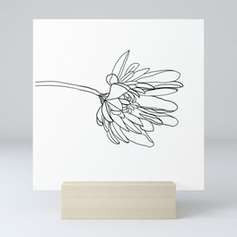 Single Flower with a Long Stem // Black and White Petals Mini Art Print