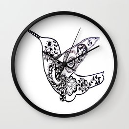 Humming bird black and white Wall Clock