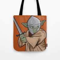 medieval Tote Bags featuring Yoda medieval  by  Steve Wade ( Swade)