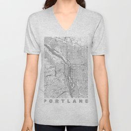 Portland City Map Line Unisex V-Neck