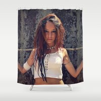 warrior Shower Curtains featuring Warrior by MG-Studio